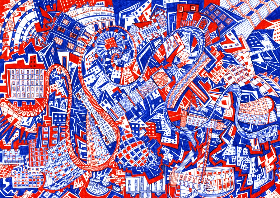 London Red & Blue by artist Kirsty Riddell