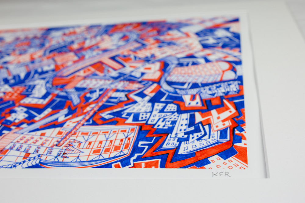 Kirsty Riddell London Red and Blue print