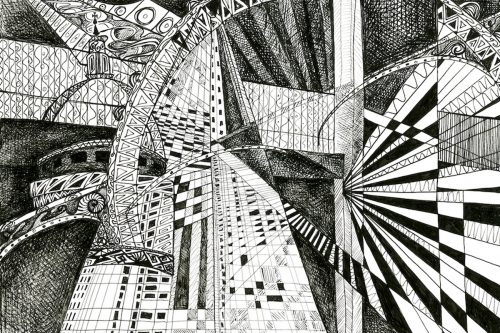 London Black and White drawing Kirsty Riddell