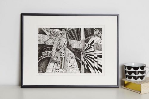 London Black and White print in frame