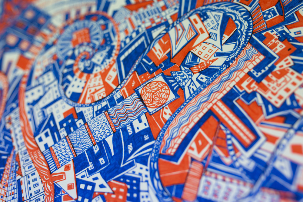 London Red and Blue print