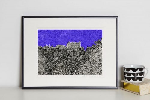 Edinburgh Castle print in frame Kirsty Riddell