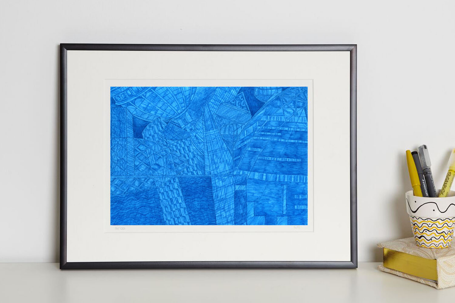 Kirsty Riddell London Blue print in frame
