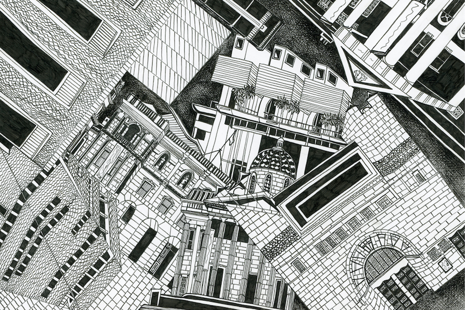 London art galleries drawing by Kirsty Riddell