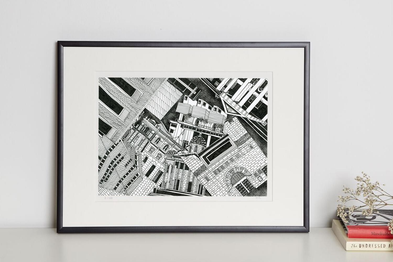 London art galleries print in frame