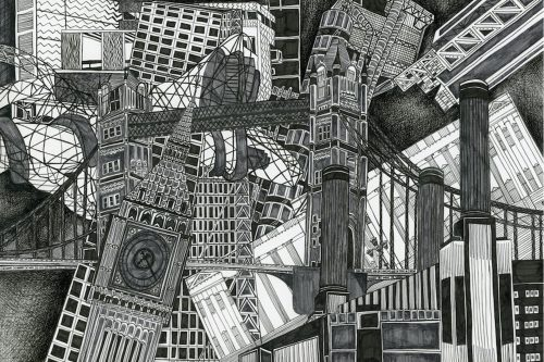 London Grey drawing by artist Kirsty Riddell