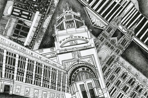 London museums drawing by Kirsty Riddell
