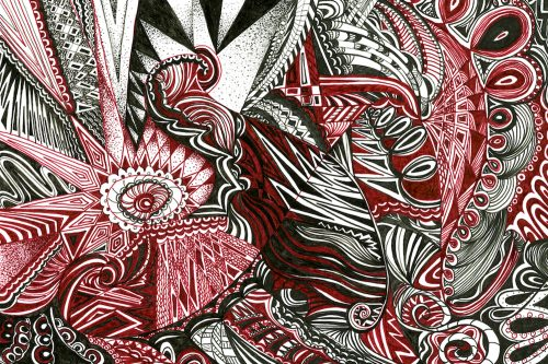 maroon drawing by artist Kirsty Riddell