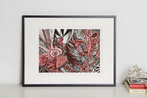 maroon print in frame
