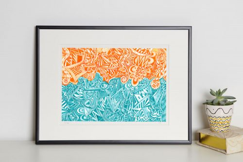 orange and green print in frame