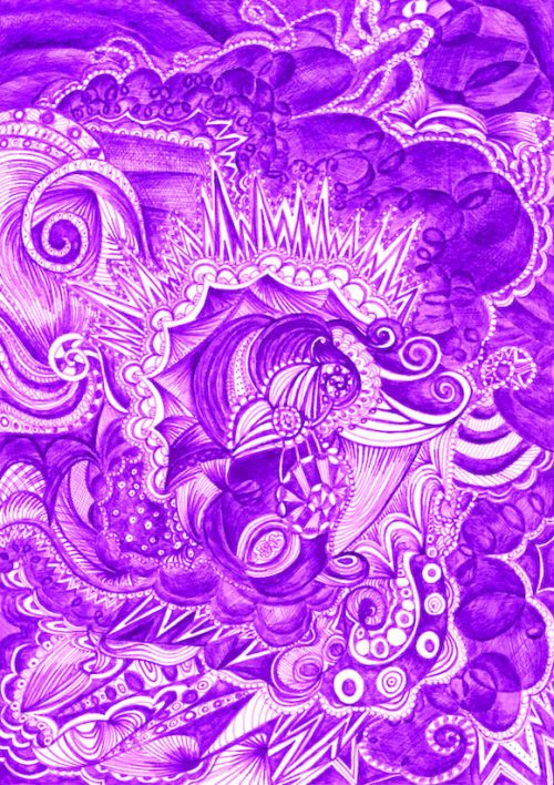 Purple drawing by artist Kirsty Riddell