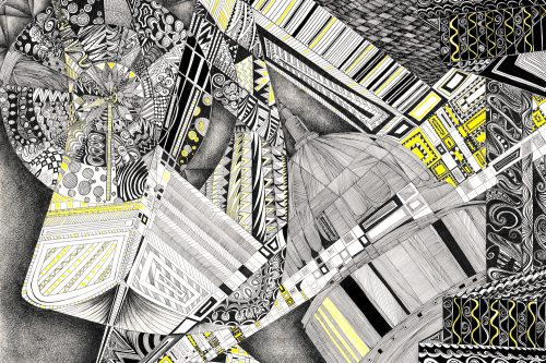 yellow brick road V drawing by artist Kirsty Riddell