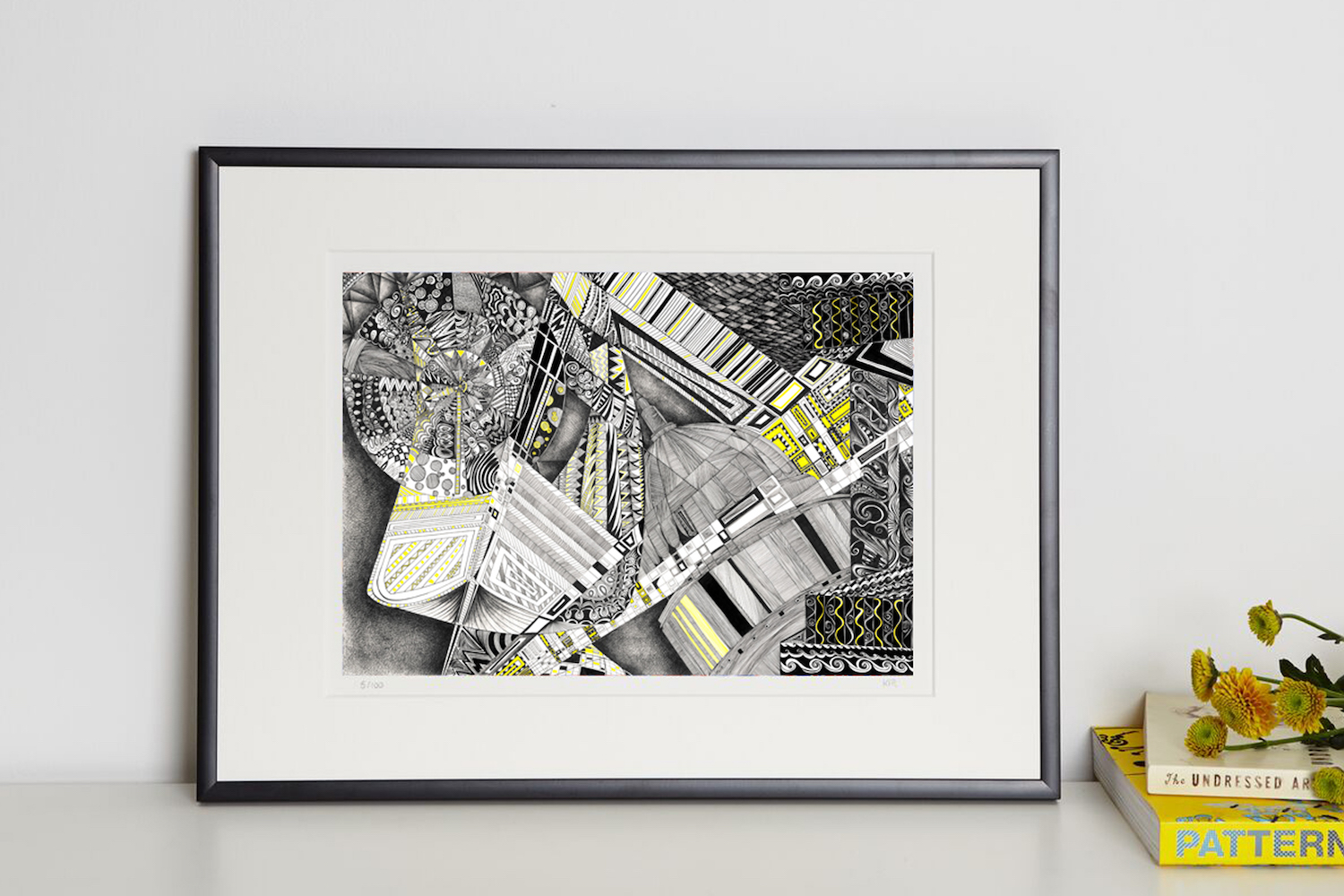 yellow brick road V print in frame