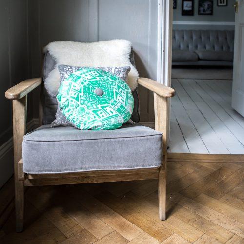 Kirsty Riddell green cushion