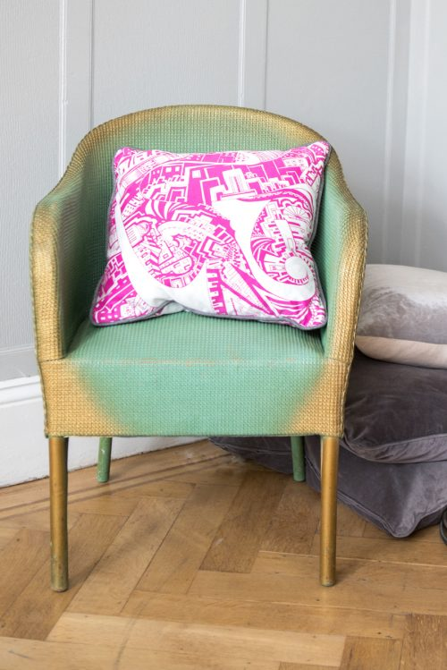 home furnishings pink cushion