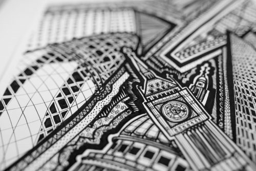 London Black and White III Print