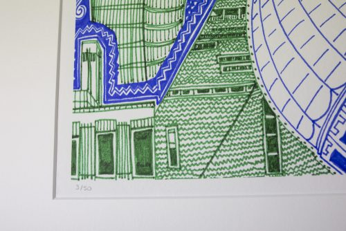 London Green and Blue Print