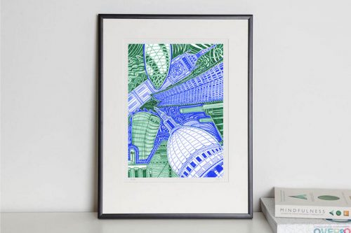 London Green and Blue print in frame