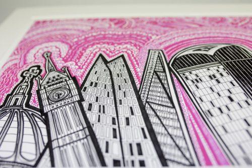London Pink Sky Print KR