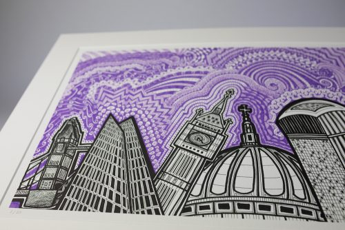 London Purple Sky print