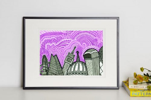 London Purple Sky print in frame