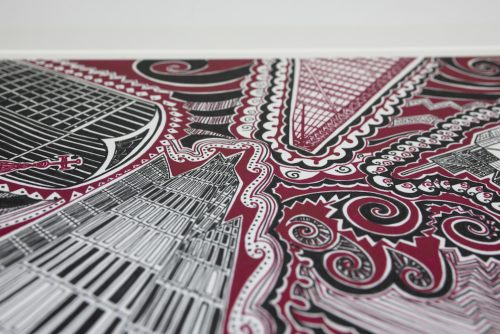 London Red Black Print