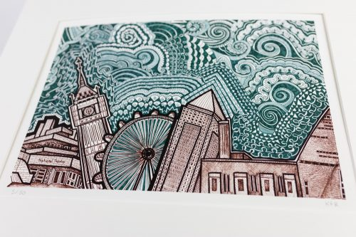 'London Green and White Sky' print
