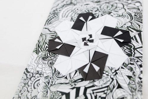 BW Zentangle Origami