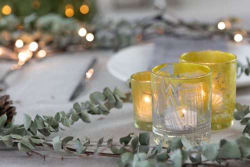 Gold and silver tea lights