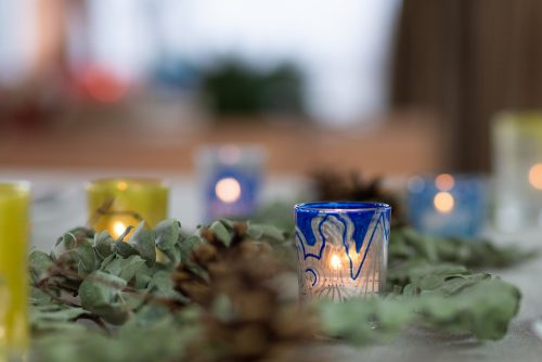 Silver and blue tea light