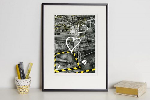 '2m of love' print in frame